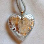 Pendentif Coeur cristal de bohême Blanc Argent 2