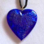 Pendentif Coeur cristal de bohême Bleue Marine 2
