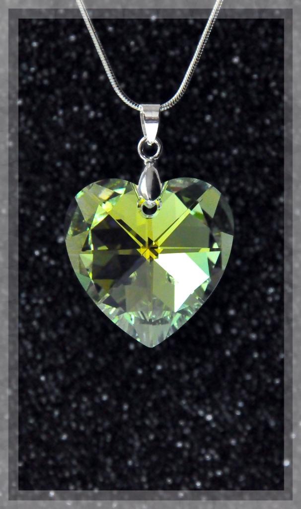 Collier coeur grand ccristal