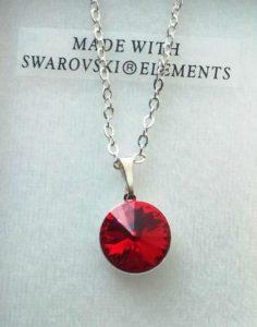 collier cristal swarovski lentille 002 rouge