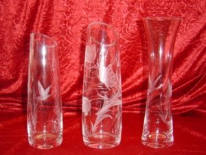 Vase gravés canard papillon cristal