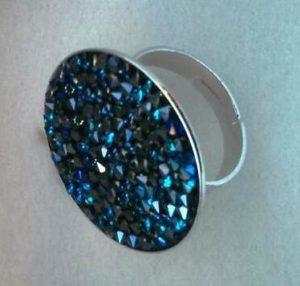 bague cristal swarovski milles cristaux bleu