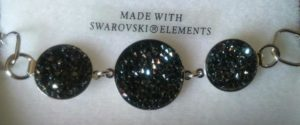 bracelet cristal de boheme - cristaux swarovski 3 ronds noir 2