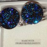 Bracelet cristal rigide 2 ronds cristaux de swarovski bleu
